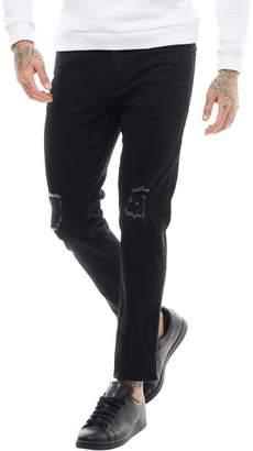 DFND London Mens Damian Skinny Fit Double Ripped Jeans Solid Black