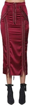 Dolce & Gabbana Lace-Up Stretch Satin Pencil Skirt