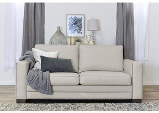 """Serta at Home Mason 81"""" Sofa in Ivory Bonded Leather"""