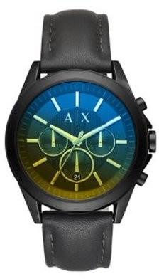 Armani Exchange Drexler Chronograph Leather Strap Watch AX2613