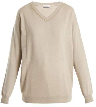 Brunello Cucinelli Embroidered V Neck Cashmere Sweater - Womens - Beige