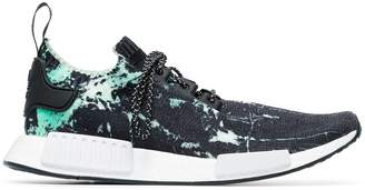 adidas black, green and white NMD_R1 marble primeknit sneakers