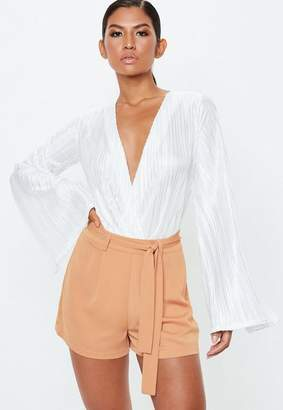 Missguided Nude Tie Waist Shorts
