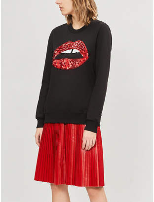 Markus Lupfer Anna lip-motif sequinned cotton sweatshirt