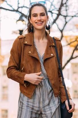 francesca's Tori Faux Suede Moto Jacket - Cognac