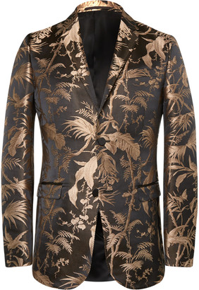 Gucci Black and Gold Slim-Fit Jacquard Tuxedo Jacket $2,690 thestylecure.com