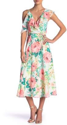 Yumi Kim Chantelle Floral Ruffled Wrap Midi Dress