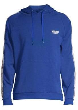 Moschino Men's Knit Logo Hoodie - Blue - Size Medium
