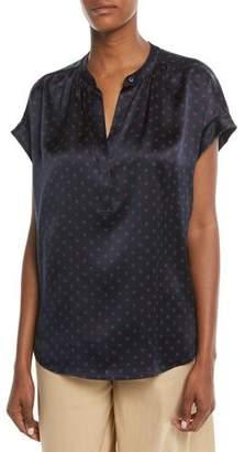 Vince Dot-Print Foulard Silk Short-Sleeve Top