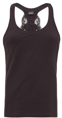 La Perla Souple Lace Trimmed Jersey Tank Top - Womens - Black