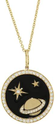 Sydney Evan Black Enamel Celestial Tableau Medallion Necklace - Yellow Gold