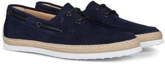 Tod's Braided Jute Suede Loafers