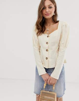 Asos Design DESIGN long sleeve sweetheart neck top in linen mix with contrast buttons