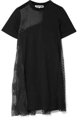 McQ Lace-paneled Jersey Mini Dress - Black