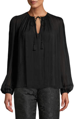 Etro Tie-Neck Blouson-Sleeve Silk Peasant Blouse