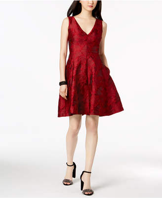 Betsey Johnson V-Neck Jacquard Fit & Flare Dress