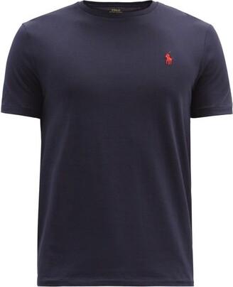 Polo Ralph Lauren Logo Embroidered Cotton Jersey T Shirt - Mens - Navy
