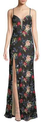 La Femme All Over Floral Embroidered Strappy Gown