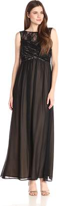 Sangria Women's Illusion Sweet Heart Yoke with Chiffon Bottom Gown, Black/Putty