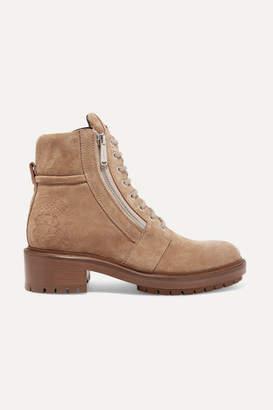 Balmain Ranger Logo-embellished Suede Ankle Boots - Beige