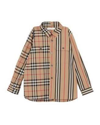 Burberry Amir Icon Stripe & Check Button-Down Shirt, Size 3-14