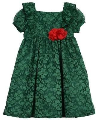Laura Ashley Puff Sleeve Lace Dress (Toddler Girls)