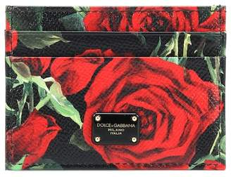 Dolce & Gabbana Floral-printed leather card holder