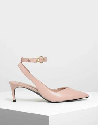 Charles & Keith Embellished Ankle Strap Pumps