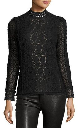 Rebecca Taylor Embellished Lace Mock-Neck Top $450 thestylecure.com