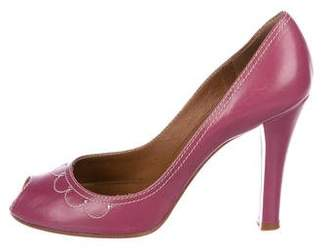 Marc Jacobs Embroidered Peep-Toe Pumps