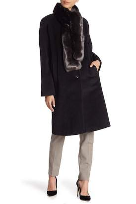 Cole Haan Front Button Faux Fur Tie Coat