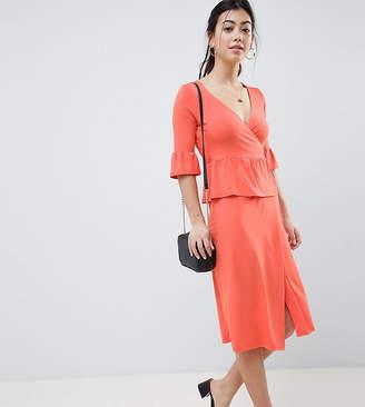 Asos Design Petite Midi Wrap Dress
