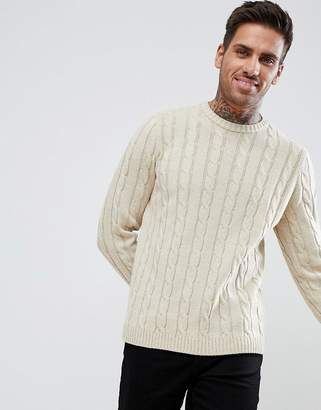 Asos DESIGN Cable Knit Sweater In Oatmeal