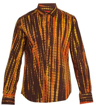 Eckhaus Latta Striped Tie Dye Cotton Shirt - Mens - Brown