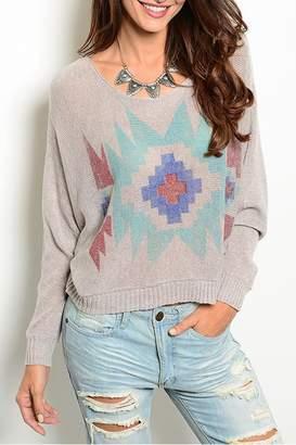 Wise & Pretty Tribal Gray Sweater