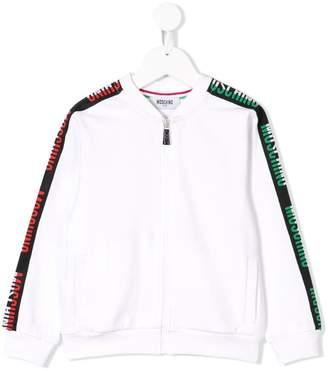 Moschino Kids logo stripe bomber jacket
