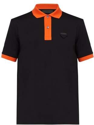 Contrast Trim Cotton Polo Shirt - Mens - Black Multi