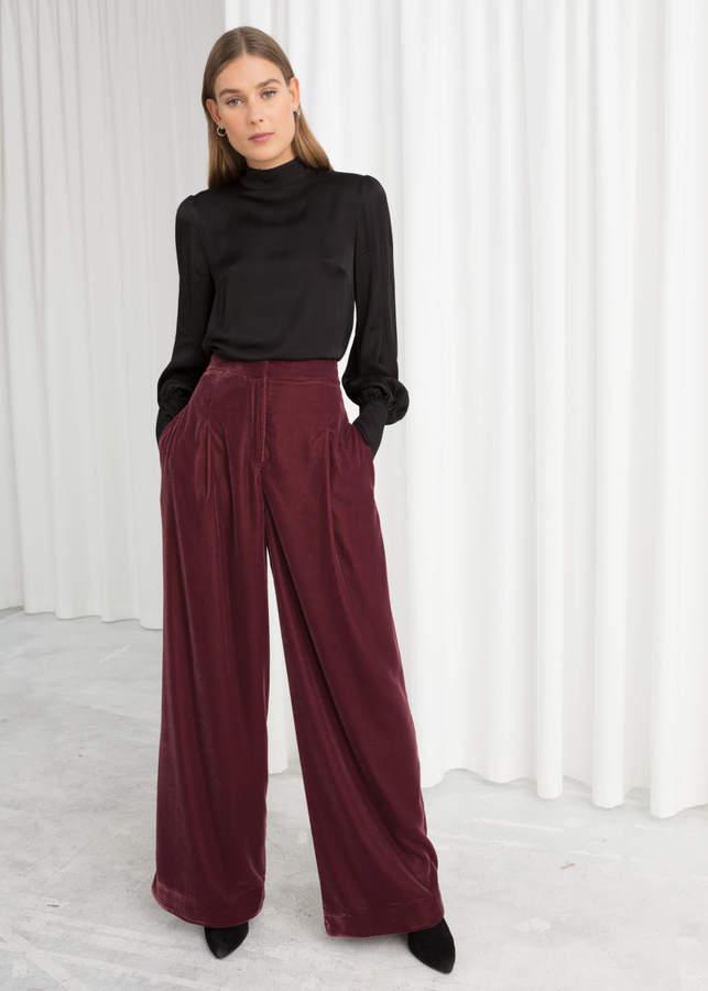 High Waisted Velvet Trousers
