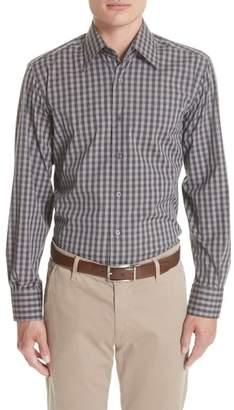 Canali Regular Fit Stretch Check Sport Shirt