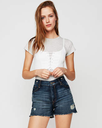 Express High Waisted Destroyed Grommet Vintage Original Denim Shorts