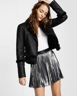 Express Metallic Pleated Mini Skirt