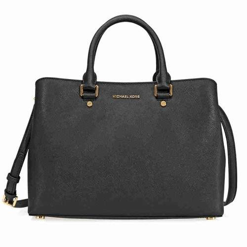 Michael Kors Savannah Saffiano Leather Satcel- - Black - BLACKS - STYLE