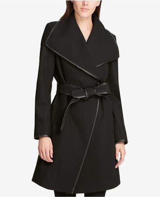 DKNY Faux-Leather-Trim Wrap Coat, Created for Macy's