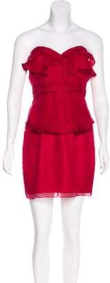 ABS by Allen Schwartz Strapless Silk Dress