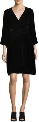 Eileen Fisher Velvet 3/4-Sleeve Wrap Dress, Plus Size