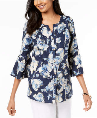 JM Collection Linen Floral-Print Bell-Sleeve Shirt, Created for Macy's