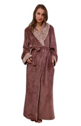 6274c68035 Insun Women s Shawl Collar Winter Warm Thick Long Coral Fleece Bathrobe XL