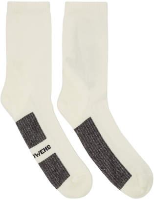 Rick Owens White Stripe Short Socks