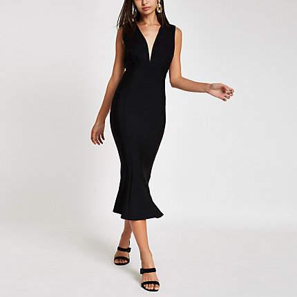 Womens Forever Unique Black bodycon midi dress