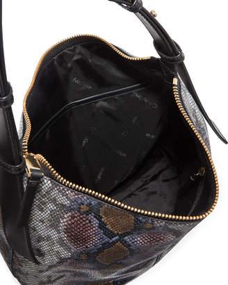 Iconic American Designer Python-Embossed Leather Hobo Bag